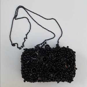 ZARA Black Floral Beaded Clutch + Removable Chain